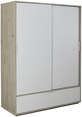 Armario Omnia de roble con dos puertas correderas y cajón blancos ...