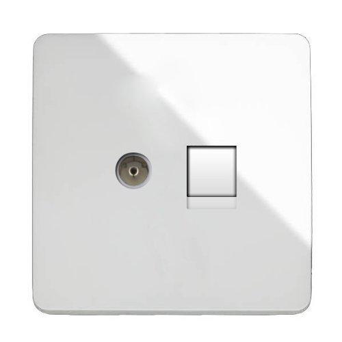 Trendi Modern Glossy Tactile TV Co-axial Socket + RJ45 Cat 5e & Cat 6 PC Ethernet Socket White Trendi Switch ART-TV+PCWH