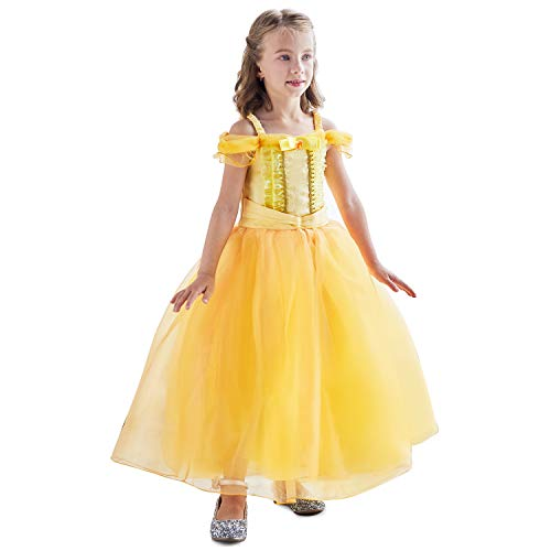 HNXDYY Princess Belle Dress Girls Party Carnival
