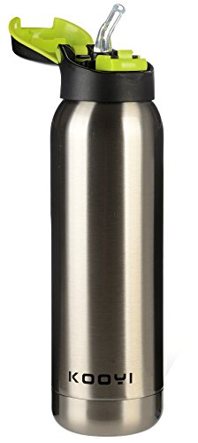 Kooyi Vacuum Insulated Sports Water Bottle 500 ML, Stainless Steel Flask Travel Mug with Built-in Straw - BPA Free (Silver)