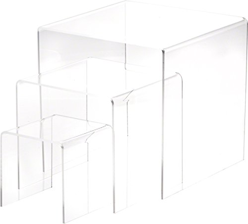 Plymor Brand Clear Acrylic Square Risers, Nesting Assortment Pack, Set of 3 Medium (1/8″ Thick) Review