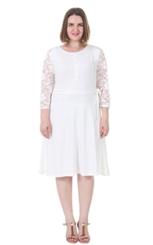 Sapphyra-Womens-Plus-Size-Scoop-Neck-Lace-Sleeve-Belt-Briesmaid-Dresses-1X-5X