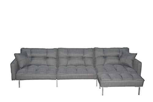 EiioX Sectional Sofa Bed Recliner Couch Sleeper Reversible Chair Lounge Futon with 2 Pillows & Storage Pocket, Fold Up & Down for Living Room,Bedroom, Office etc, Grey (Small Sleepers Sectional)