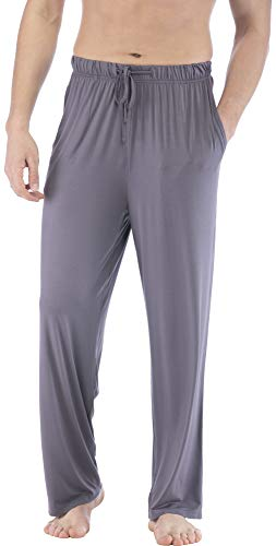NEIWAI Mens Pajama Pants Bamboo Knit Sleep Bottoms Lounge Pants Dark Grey M