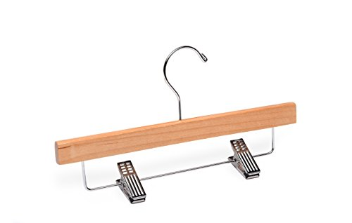 Child/Baby Natural Bottom with Clips Wooden Hanger, Box of 50, 11 inch by WoodenHangersDirect
