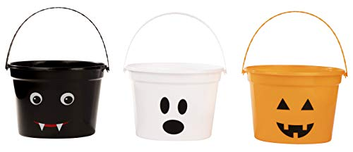 Halloween Buckets - 3-Pack Trick-or-Treat Candy Holders for Halloween Decoration, Kids Party Supplies, Bat, Ghost, and Pumpkin, 3 Assorted Designs, 8 x 5.75 x 6 Inches -