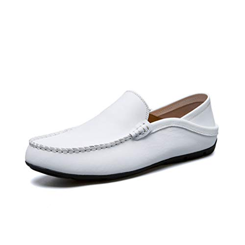 JIONS Mens Dress Shoes Driver Moccasins Loafers Slip-On Casual Boat Shoe Slipper C-White 45/10.5 M US