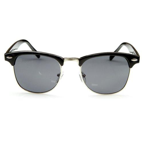 Vintage Inspired Classic Half Frame Horned Rim Wayfarer Sunglasses