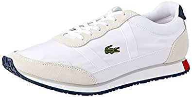 Lacoste Men's Partner 119 1 Fashion Shoes, WHT/NVY/RED, 7 US