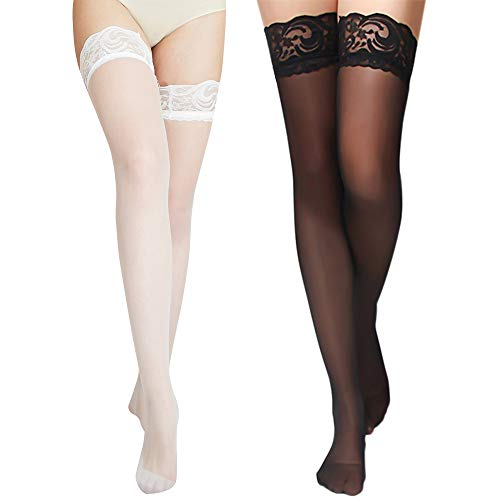 (Charmnight Women's Sheer Thigh High Stockings Lace Top Reinforced Toe 2-Pack(Black+White))