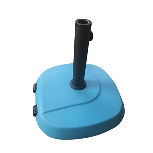 Great Deal Furniture 304821 Leon Outdoor 59.5lb Concrete Circular Umbrella Base with Aluminum Collar, Teal,