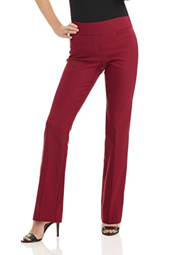 Rekucci Women's Ease in to Comfort Boot Cut Pant (14SHORT,Burgundy)