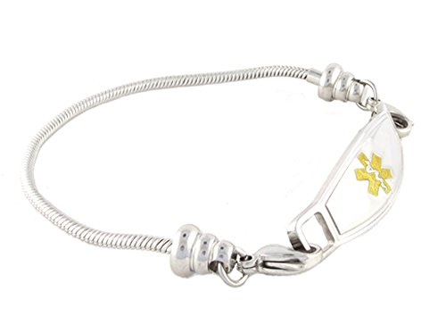 N Style ID Women's Beaded Pan-dorra Style PRE-ENGRAVED ''Defibrillator'' Medical Id Bracelet - Gold 7.75 by N-Style ID