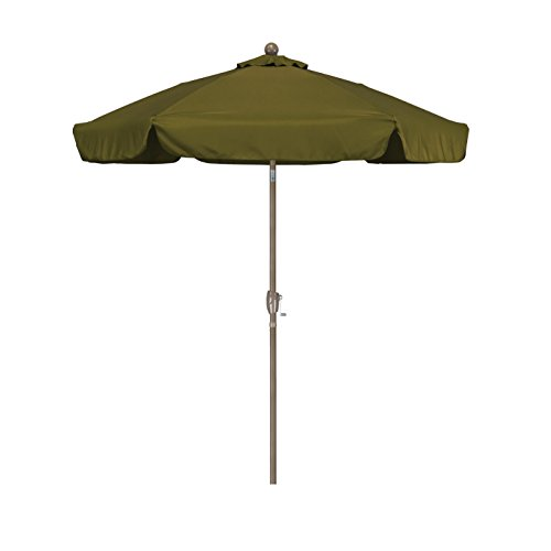 - California Umbrella 7.5' Round Aluminum Pole Fiberglass Rib Umbrella, Crank Open, Push Button 3-Way Tilt, Champagne Pole, Palm Green