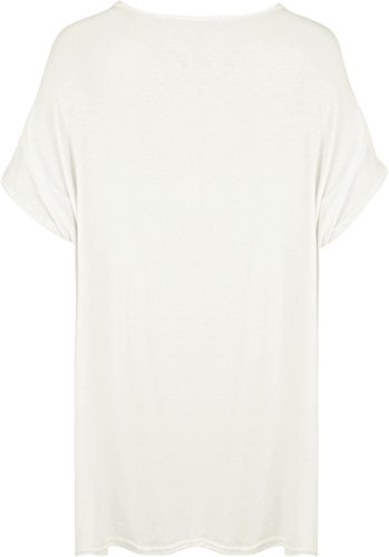 Cuore Donna donna Grande Top 54 shirt Wearall Di 44 T Slogan 4 stampa A Panna Misure Colori Forma qpY5H8nx
