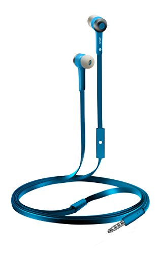 Coby CVE-101-BLU Stereo Earbuds with Built-In Mic, Blue