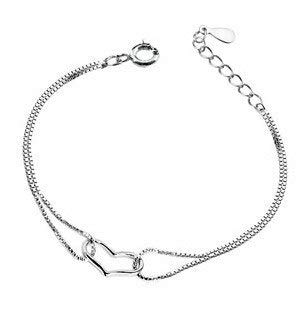- Nitlovely 925 Sterling Silver Jewelry Charm Heart Shape Chain Bangles Bracelets for Girls Woman Gift 1pc/lot!!