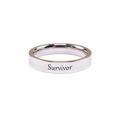 Pink Box Accessories Solid Stainless Steel Comfort Fit Inspirational Ring - Survivor