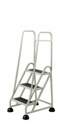 Cramer 1033-19 Stop-Step Ladder 3 Steps with Double Handrail 27-inch High Top Step, Beige - Double Handrail