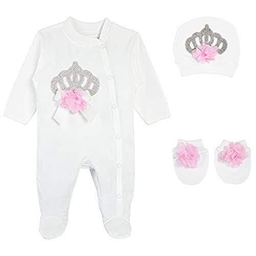 Baby personalized gifts amazon eda baby girl jeweled crown layette 3 piece gift set 3 6m pink negle