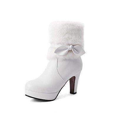 RTRY Zapatos De Mujer Polipiel Moda Invierno Botas Botas Chunky Talón Puntera Redonda Botines/Botines Bowknot Para Vestimenta Casual Rubor Rosa US10.5 / EU42 / UK8.5 / CN43