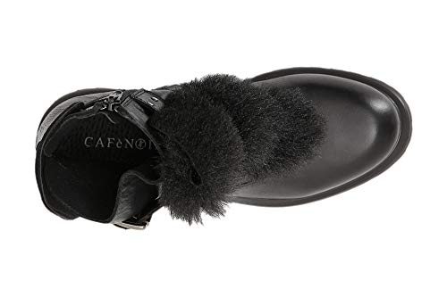 Con Cafè Bota 010 Piel Jfe131 Ankle Desmontable De Cuero Noir Nero ZrqFPYE4nr