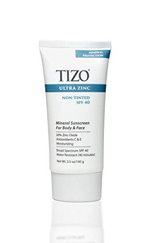 TIZO Ultra Zinc Body Face Sunscreen Non-Tinted SPF 40 Broad Spectrum, 3.5 Ounce