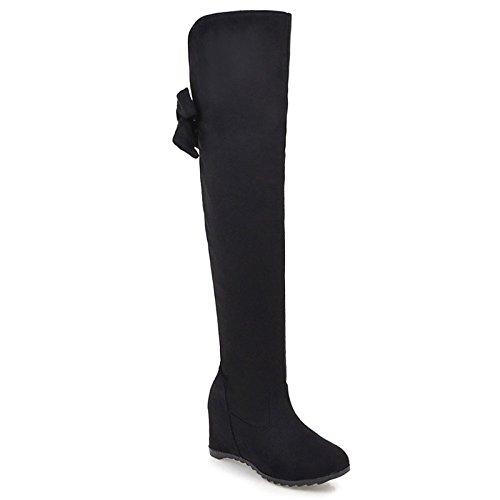 Schleife Rot hsxz mit Keilabsatz Schuhe rund und Stiefel für kniehoch Schwarz Grau Winter Büro Damen ZHZNVX xIwOSdqO