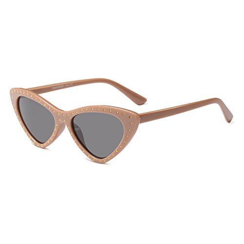 de soleil Lunettes soleil Mod Eye Triangle Fuyingda Femmes style de Vintage Frame Cat Pulvergrau lunettes Petit wBCxXgq