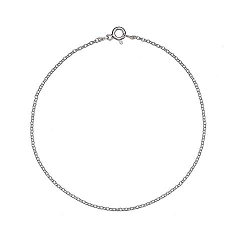 (Solid 925 Sterling Silver 1.7mm Italian Round Rolo Cable Link Chain Anklet - 9