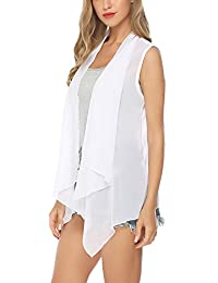 Aibrou Women's 3 4 Sleeves Lightweight Chiffon Kimono Cardigan Solid Beach Cover up Blouse
