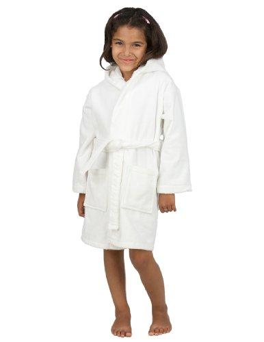 Hood Clothing White (TowelSelections Big Girls' Robe, Kids Hooded Cotton Terry Bathrobe Cover-up Size 10 White)