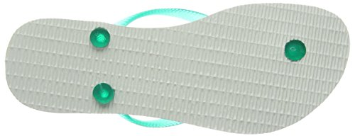 Havaianas Slim Logo, Sandalias de Punta Descubierta para Mujer Blanco (White/Lake Green 0335)