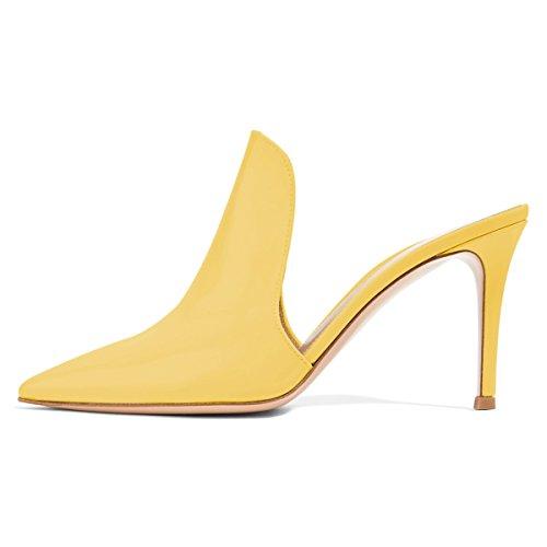 Di Cm Giallo Sandali Stiletto Lucida Scarpe Uniti Scivolare Mulattiere Alti Tacchi 15 8 Colore Su Donne 4 Dimensioni Degli Fsj Stati Pantofole Scorrono x4BRqSUqwg