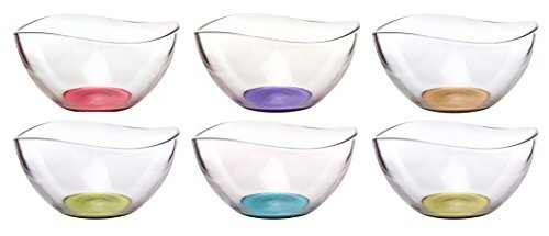 Mini Colored Glass Wavy Serving/Prep Bowls, 10 1/2 Ounce, Set of 6-5