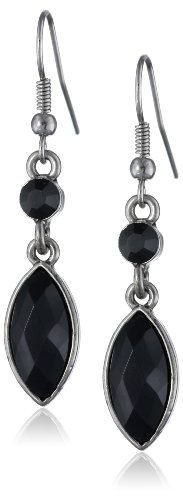 1928 Jewelry Silver-Tone Jet Crystal Navette Drop (Silver Tone Jet Stone)