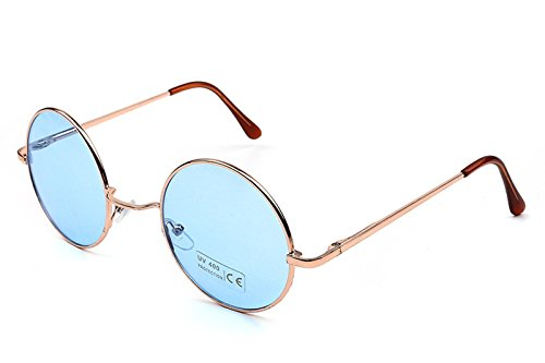 Caixia Women's SJT-TZ Colored Tinted Lens Retro Metal Round Sunglasses (blue, - Cheap Sunglasses