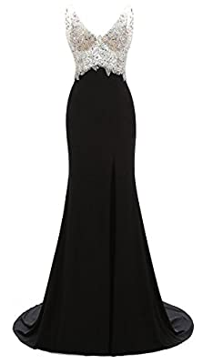 Manfei Women's 2017 V-Neck Crystal Beaded Mermaid Black Long Prom Dress Slit Side