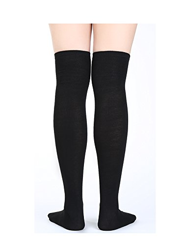 ce45b071c27 Satinior Women Knee High Socks High Thigh Stockings with Colorful Strips  for Cosplay