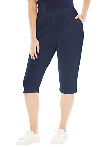(Roamans Women's Plus Size Petite Soft Knit Capri Pant - Navy, L)