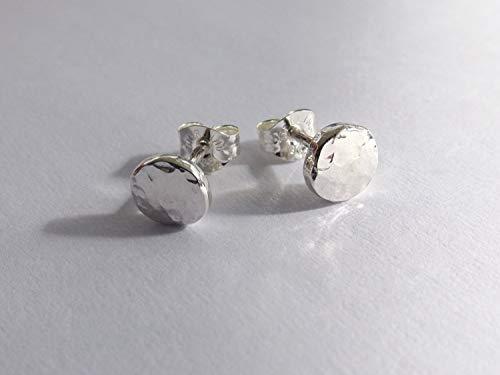 Recycled Silver Circle Earrings, Sterling Earrings, Post Earrings, Faceted Earrings, Disc Earrings, Minimalist Earrings, Post -