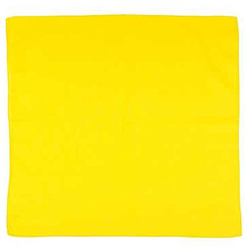 (Set of 12 Solid 100% Polyester Unisex Bandanas  One Dozen, 22 in, Yellow)