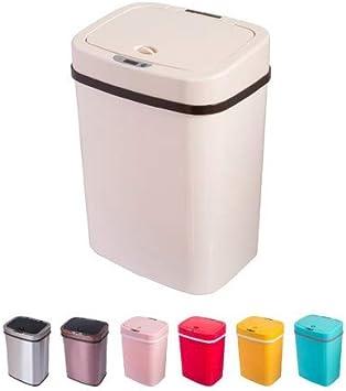 12 L, Creme Sensor M/ülleimer 12 Liter Automatik Abfalleimer bunt Push K/ücheneimer K/üche Bad Wohnzimmer