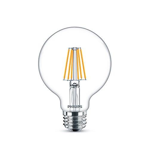 Philips LED 469767 G25 Clear Glass Dimmable Filament Light Bulb with Warm Glow Effect: 500-Lumen, 2700-2200 Kelvin, 6-Watt (60-Watt Equivalent), E26 Medium Base, Soft White, 8-Pack - 60w Clear Glass