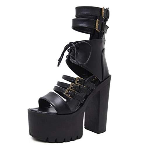 (Vintage Punk Rock Gothic Sandals Women Thick Platform Square Chunky Block High Heels Lady Buckle Strap Sandal Shoes)