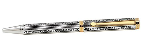 Xezo Legionnaire 18-Karat Gold, Platinum Plated Twist-Action Medium Point Ballpoint Pen. Diamond-Cut Engraved. Finely Hand-Etched. Individually Numbered. A Unique Gift (Legionnaire 500 B) by Xezo (Image #5)