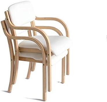 Min Chaise en Bois Massif - Coussin Moelleux en PU Structure en Bois Massif de Haute qualité avec accoudoirs Chaise Longue Dinette Chaise de Bureau Chaise de Salle à Manger