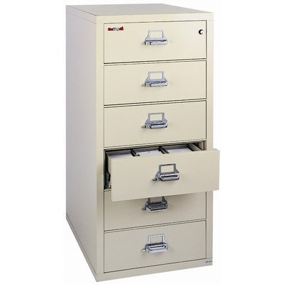 Fireproof 6-Drawer Card, Check and Note Vertical File Finish: Parchment, Lock: Key Lock by FireKing
