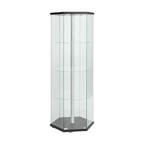 - BOWERY HILL Hexagon Glass Curio Cabinet in Black