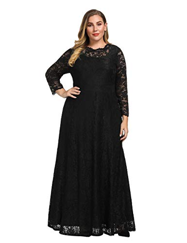 Chicwe Women's Plus Size Stretch Floral Lace Maxi Dress Gown with Scalloped Neck Long Sleeves Pockets Black 1X